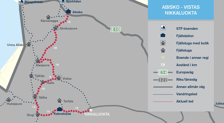 Karta Riksgransen Abisko.Abisko Nikkaluokta Svenska Turistforeningen