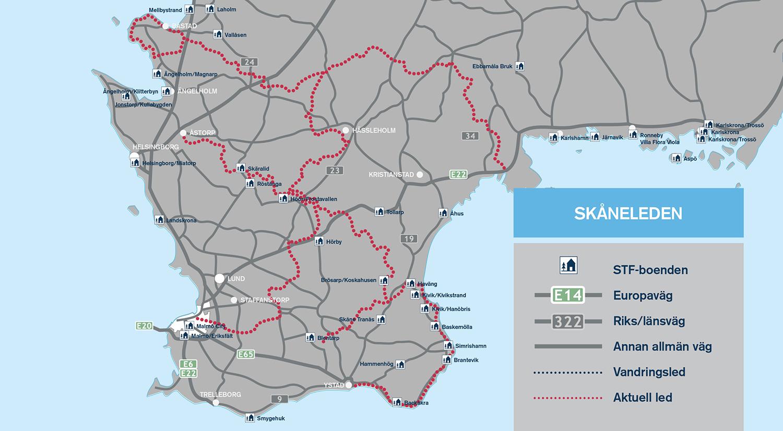 skåneleden karta Svenska vandringsleder från norr till söder   Wilderness Stories skåneleden karta